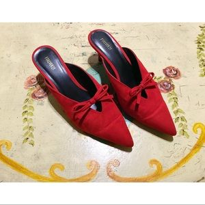Rose red slip-on kitten heels size 7.5